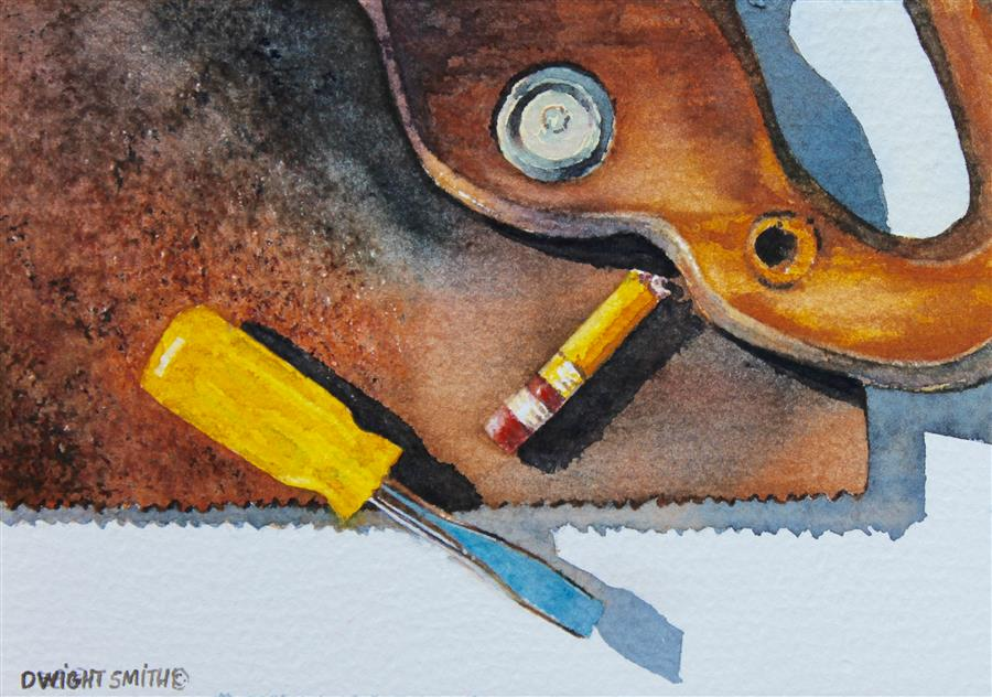 Original art for sale at UGallery.com | Old Saw by DWIGHT SMITH | $225 |  | 4' h x 6' w | ..\art\watercolor-painting-Old-Saw