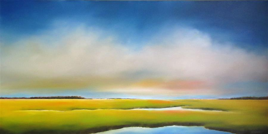 Original art for sale at UGallery.com | Clouds over Marsh by NANCY HUGHES MILLER | $2,075 |  | 24' h x 48' w | ..\art\oil-painting-Clouds-over-Marsh