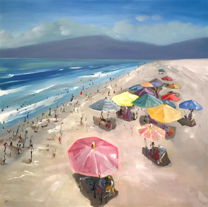 Original art for sale at UGallery.com | A View from the Pier by PATRICIA FABIAN | $4,550 |  | 48' h x 48' w | ..\art\oil-painting-A-View-from-the-Pier