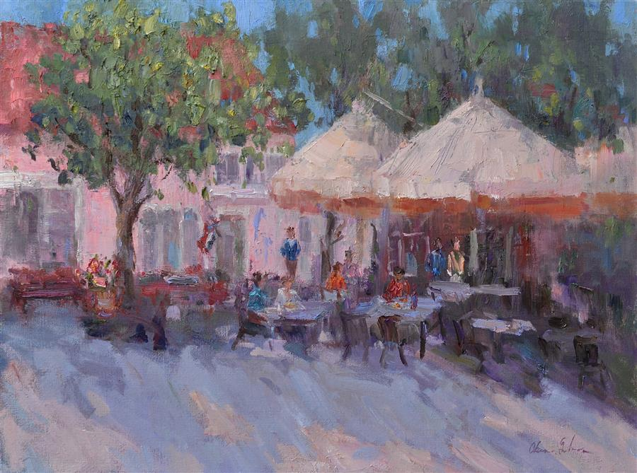 Original art for sale at UGallery.com | Street Cafe by OKSANA JOHNSON | $1,275 |  | 18' h x 24' w | ..\art\oil-painting-Street-Cafe