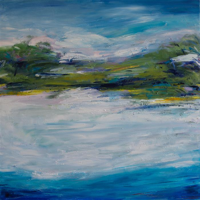 Original art for sale at UGallery.com | Tranquil Day by Kajal Zaveri | $2,075 | oil painting | 30' h x 30' w | ..\art\oil-painting-Tranquil-Day