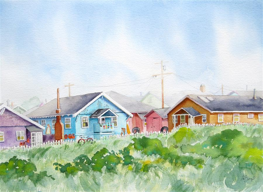 Original art for sale at UGallery.com | Beachy Bungalows by NANCY MUREN | $925 |  | 18' h x 24' w | ..\art\watercolor-painting-Beachy-Bungalows