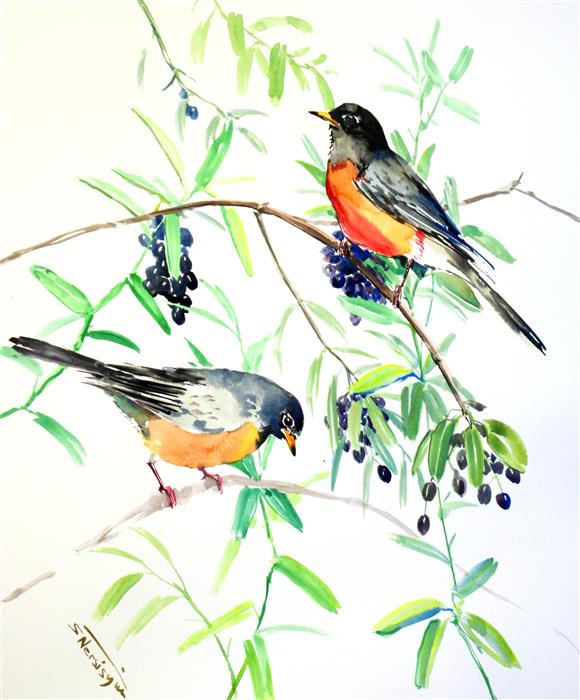 Original art for sale at UGallery.com | American Robins on Summer Tree by SUREN NERSISYAN | $400 | Watercolor painting | 17' h x 14' w | ..\art\watercolor-painting-American-Robins-on-Summer-Tree