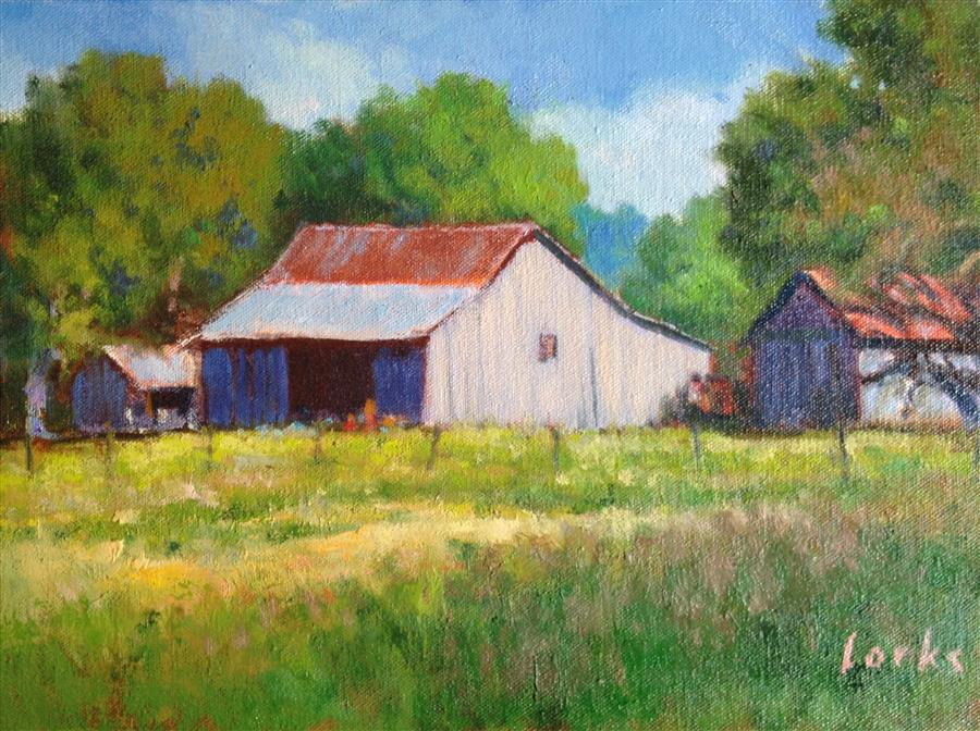 Original art for sale at UGallery.com | Barn with Out Buildings by David Forks | $375 | oil painting | 9' h x 12' w | ..\art\oil-painting-Barn-with-Out-Buildings