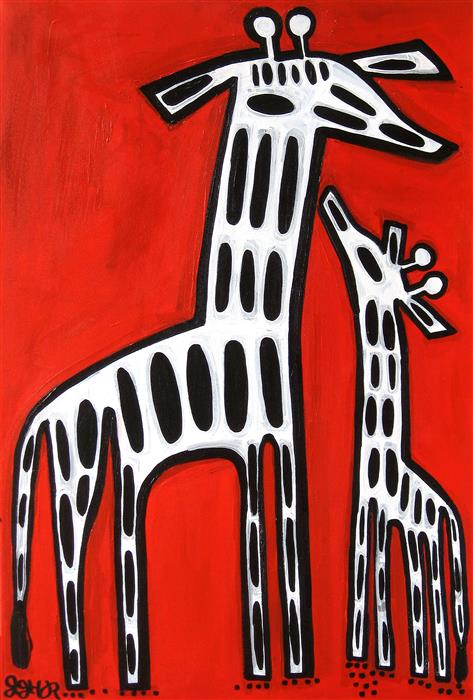 Original art for sale at UGallery.com | Giraffe by JESSICA JH ROLLER | $1,000 |  | 36' h x 24' w | ..\art\acrylic-painting-Giraffe-50182