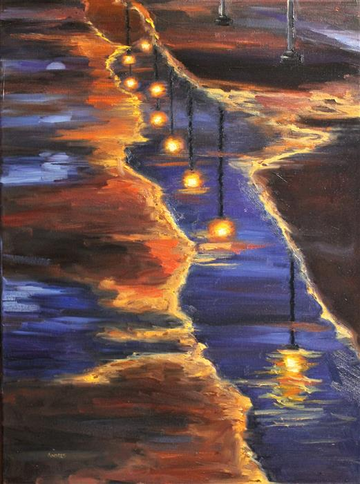 Original art for sale at UGallery.com | Lights After the Rain by ANDRES LOPEZ | $550 |  | 24' h x 18' w | ..\art\oil-painting-Lights-After-the-Rain