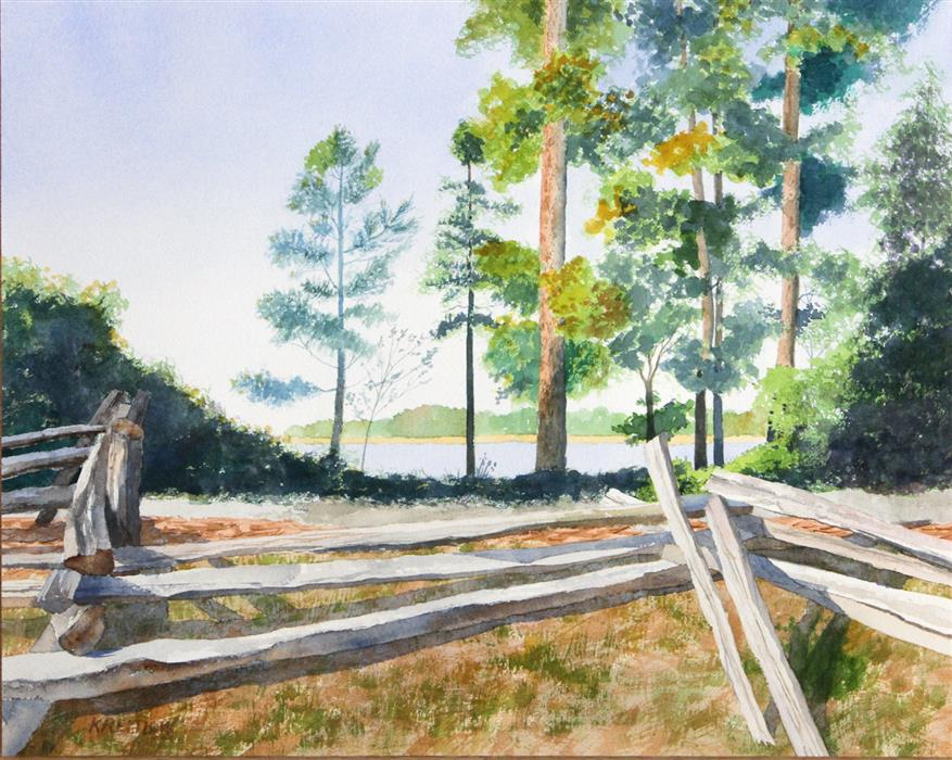 Original art for sale at UGallery.com | Fence along the James by BILL KREITLOW | $675 |  | 16.25' h x 20.25' w | ..\art\watercolor-painting-Fence-along-the-James