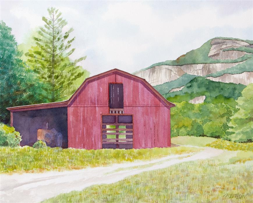 Original art for sale at UGallery.com | Red Barn in Whiteside Cove by BILL KREITLOW | $625 | Watercolor painting | 16.25' h x 20.25' w | ..\art\watercolor-painting-Red-Barn-in-Whiteside-Cove