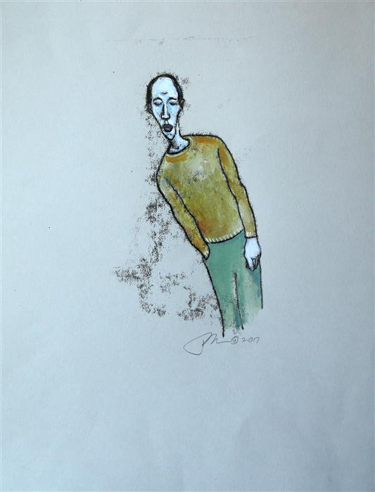Original art for sale at UGallery.com | Lean by JAMES REES | $300 | Printmaking | 15' h x 11.25' w | ..\art\printmaking-Lean