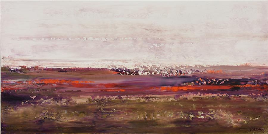 Original art for sale at UGallery.com | Purple Sands by LISA CARNEY | $1,575 |  | 24' h x 48' w | ..\art\acrylic-painting-Purple-Sands