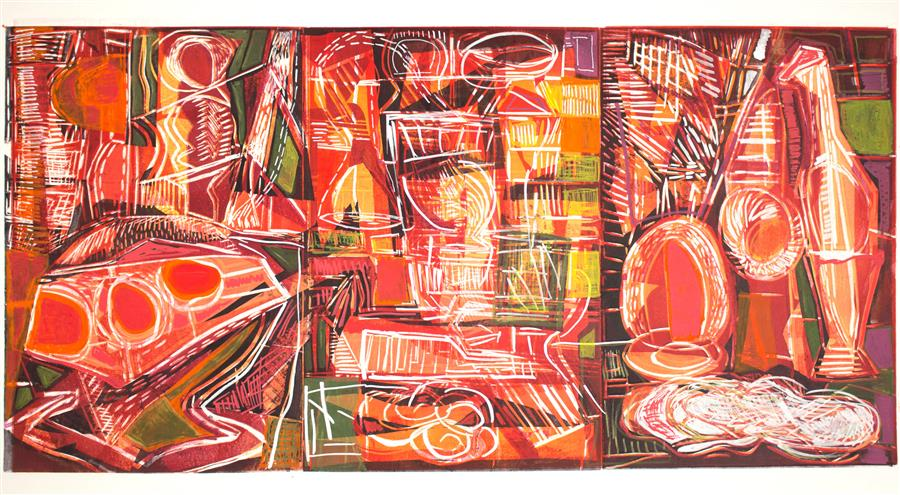 Original art for sale at UGallery.com | Still Life Triptych 3 by Andrea Epstein | $850 | printmaking | 26' h x 40' w | ..\art\printmaking-Still-Life-Triptych-3