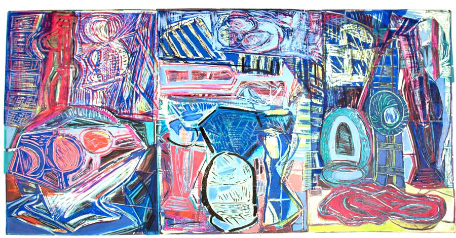 Original art for sale at UGallery.com | Still Life Triptych 6 by ANDREA EPSTEIN | $775 |  | 26' h x 40' w | ..\art\printmaking-Still-Life-Triptych-6