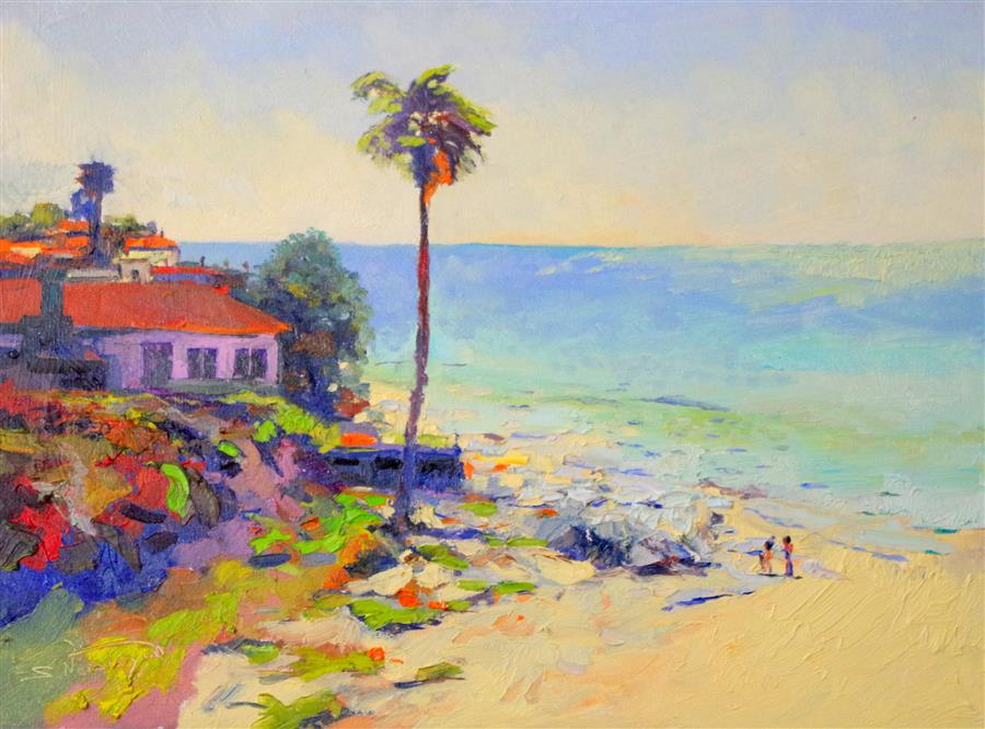 Original art for sale at UGallery.com | Sunny Day on the Beach (Santa Barbara) by SUREN NERSISYAN | $850 |  | 18' h x 24' w | ..\art\oil-painting-Sunny-Day-on-the-Beach-Santa-Barbara
