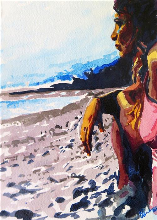 Original art for sale at UGallery.com | Playa by ELENA MARQUEZ BONNY | $325 |  | 11.7' h x 8.3' w | ..\art\watercolor-painting-Playa
