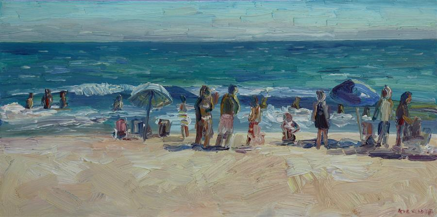 Original art for sale at UGallery.com | Sunbathers at Zuma by JOHN KILDUFF | $1,375 |  | 18' h x 36' w | ..\art\oil-painting-Sunbathers-at-Zuma