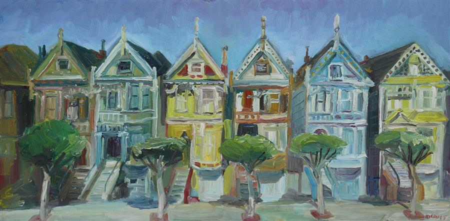 Original art for sale at UGallery.com | Painted Ladies by JOHN KILDUFF | $1,375 |  | 18' h x 36' w | ..\art\oil-painting-Painted-Ladies