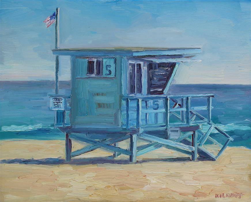 Original art for sale at UGallery.com | Lifeguard Tower Zuma Beach by JOHN KILDUFF | $925 |  | 16' h x 20' w | ..\art\oil-painting-Lifeguard-Tower-Zuma-Beach