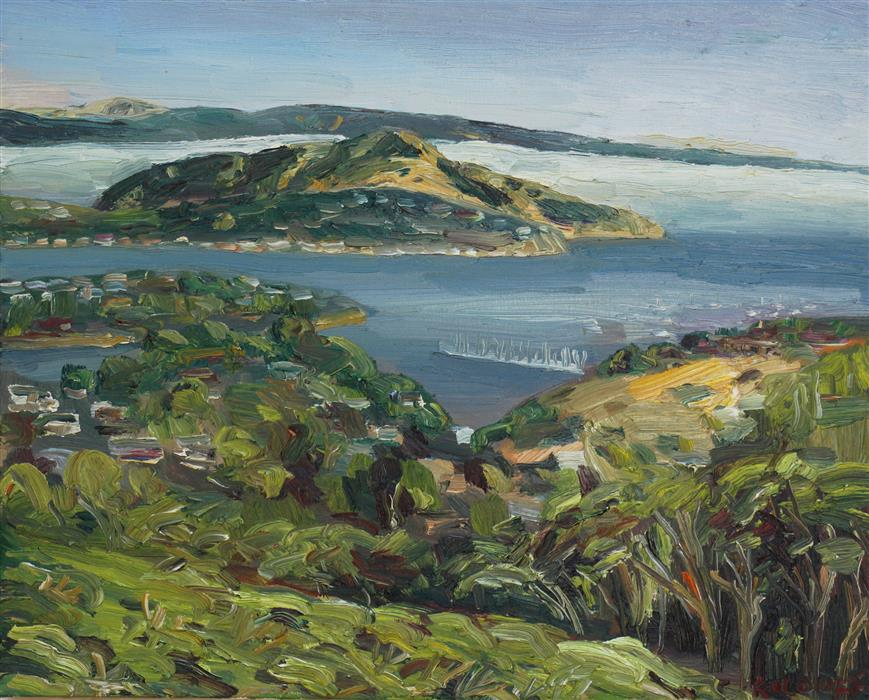 Original art for sale at UGallery.com | Sausalito View by JOHN KILDUFF | $925 |  | 16' h x 20' w | ..\art\oil-painting-Sausalito-View
