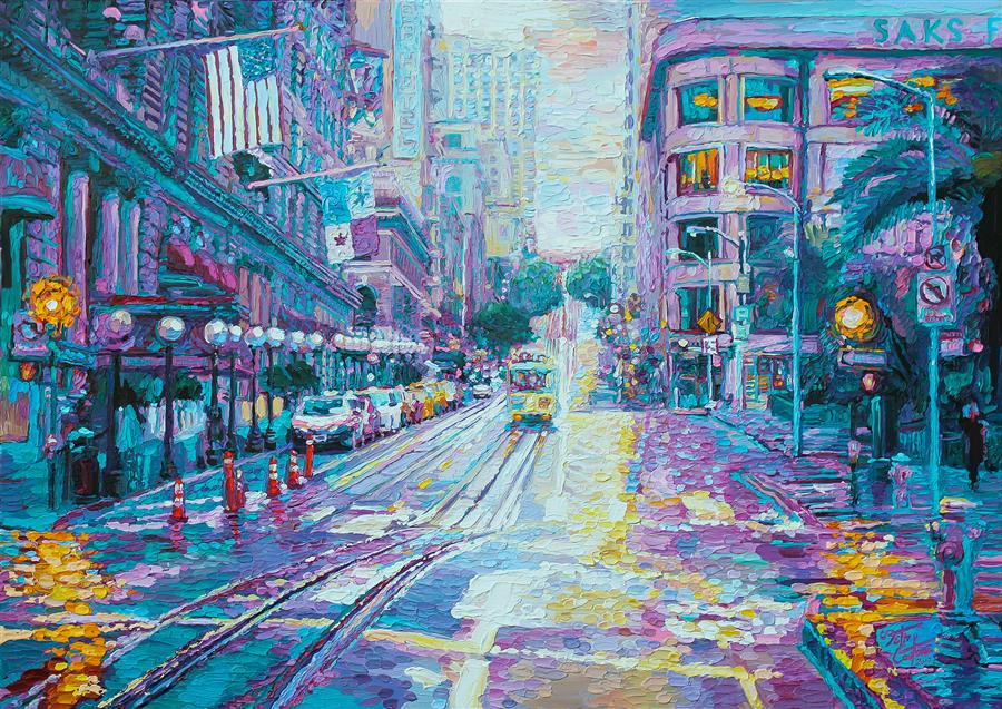 Original art for sale at UGallery.com | Union Square in Magenta and Blue, San Francisco by SETH COUTURE | $2,800 |  | 34' h x 48' w | ..\art\acrylic-painting-Union-Square-in-Magenta-and-Blue-San-Francisco