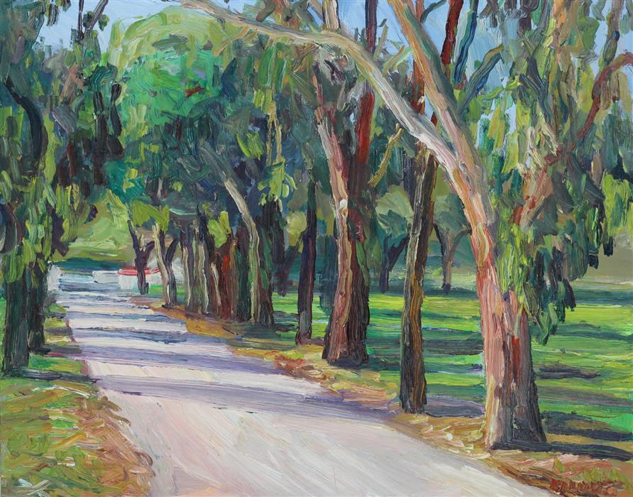 Original art for sale at UGallery.com | Malibu Country Road by JOHN KILDUFF | $775 |  | 16' h x 20' w | ..\art\oil-painting-Malibu-Country-Road