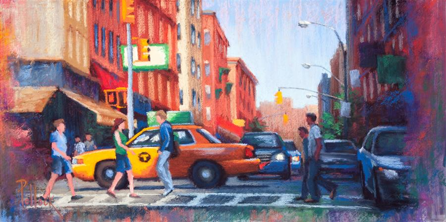Original art for sale at UGallery.com | Vignette, Little Italy by SARAH POLLOCK | $550 |  | 8' h x 16' w | ..\art\pastel-artwork-Vignette-Little-Italy