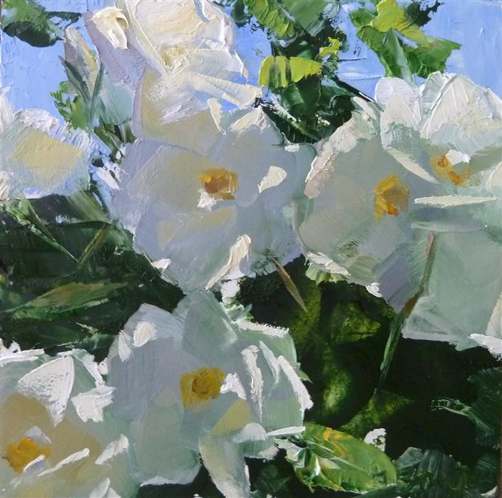 Original art for sale at UGallery.com | White Roses by GARY BRUTON | $375 |  | 5' h x 5' w | ..\art\oil-painting-White-Roses-53087