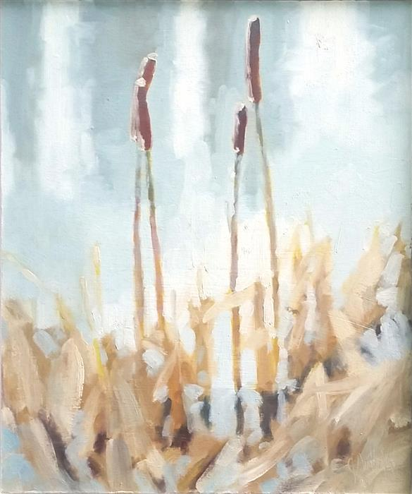 Original art for sale at UGallery.com | Resting Cattails by JULIA SUTLIFF | $475 |  | 12' h x 10' w | ..\art\oil-painting-Resting-Cattails