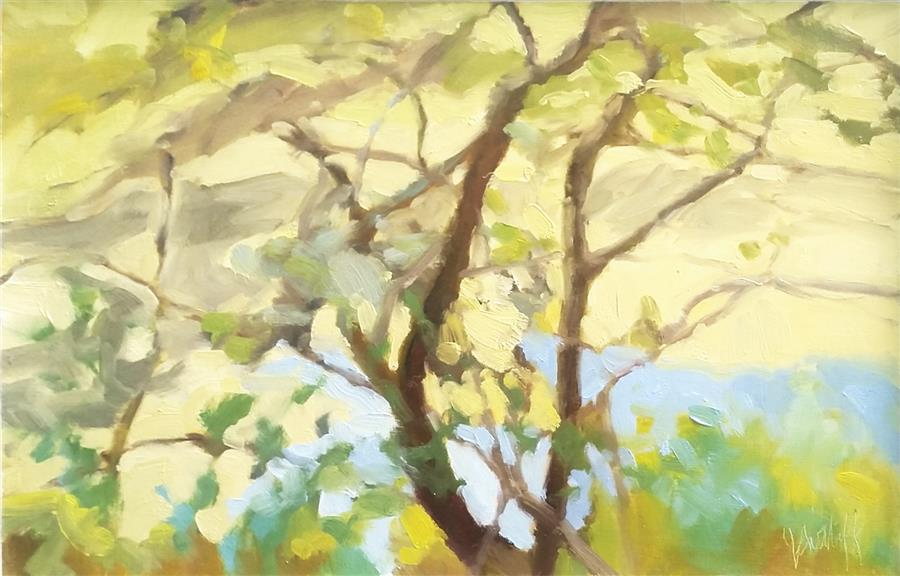 Original art for sale at UGallery.com | Reaching Tree and Gold by JULIA SUTLIFF | $500 |  | 9' h x 14' w | ..\art\oil-painting-Reaching-Tree-and-Gold