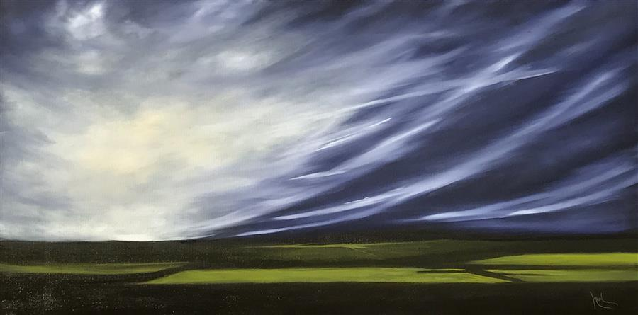 Original art for sale at UGallery.com | Aerial Dramatics XVII by MANDY MAIN | $1,525 |  | 24' h x 48' w | ..\art\oil-painting-Aerial-Dramatics-XVII