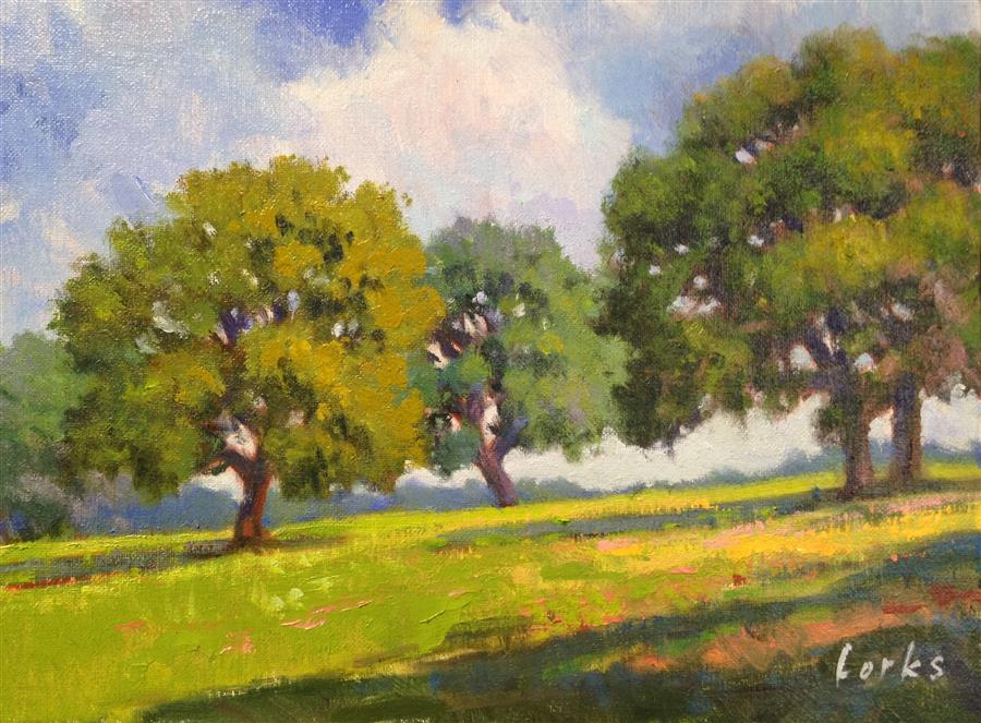 Original art for sale at UGallery.com | Saturday in the Park by DAVID FORKS | $375 |  | 9' h x 12' w | ..\art\oil-painting-Saturday-in-the-Park