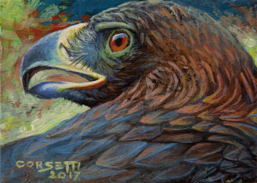 Original art for sale at UGallery.com | Golden Eagle by ROBERT CORSETTI | $475 | Acrylic painting | 4.25' h x 5.87' w | ..\art\acrylic-painting-Golden-Eagle