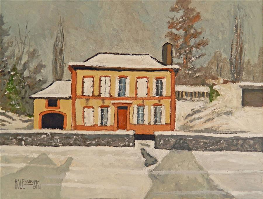Original art for sale at UGallery.com | House Near Moyeuvre-Grande by ROBERT  HOLEWINSKI | $1,325 |  | 17' h x 23' w | ..\art\oil-painting-House-Near-Moyeuvre-Grande