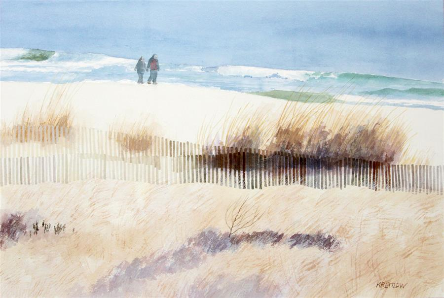 Original art for sale at UGallery.com | Cold Walk by the Sea by BILL KREITLOW | $750 |  | 16.25' h x 25.25' w | ..\art\watercolor-painting-Cold-Walk-by-the-Sea