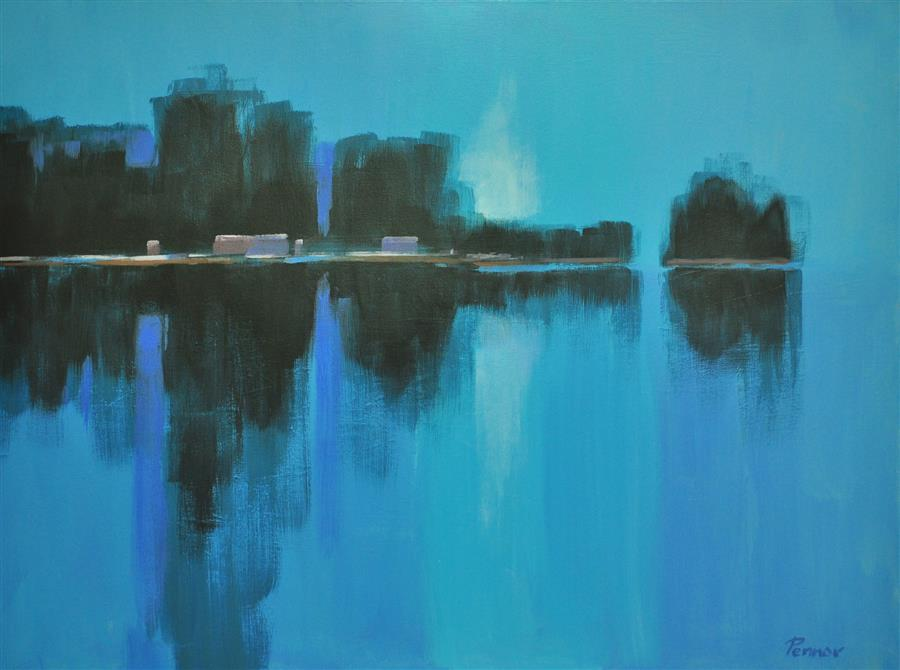 Original art for sale at UGallery.com | Distant Shore by Robert Pennor | $2,075 | acrylic painting | 30' h x 40' w | ..\art\acrylic-painting-Distant-Shore