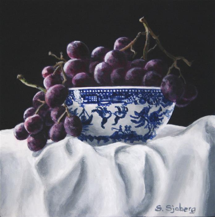 Original art for sale at UGallery.com | Grapes and Blue Willow by SUSAN SJOBERG | $325 |  | 6' h x 6' w | ..\art\acrylic-painting-Grapes-and-Blue-Willow