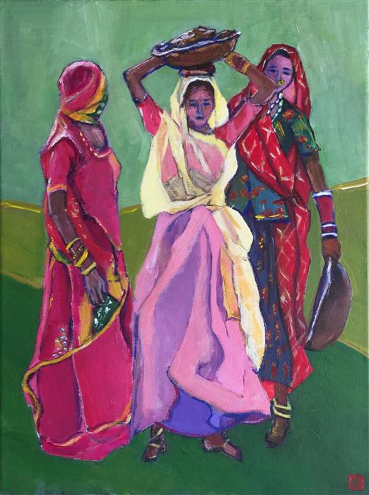 Original art for sale at UGallery.com | Sari Clad Ladies by LAURA (YI ZHEN) CHEN | $425 | Acrylic painting | 16' h x 12' w | ..\art\acrylic-painting-Sari-Clad-Ladies
