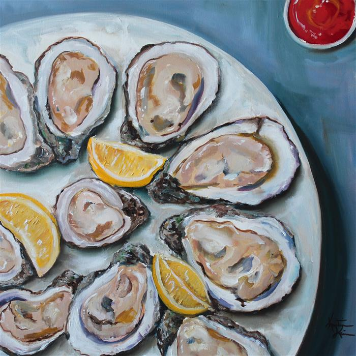 Original art for sale at UGallery.com | Oysters on the Half Shell by KRISTINE KAINER | $1,750 |  | 20' h x 20' w | ..\art\oil-painting-Oysters-on-the-Half-Shell