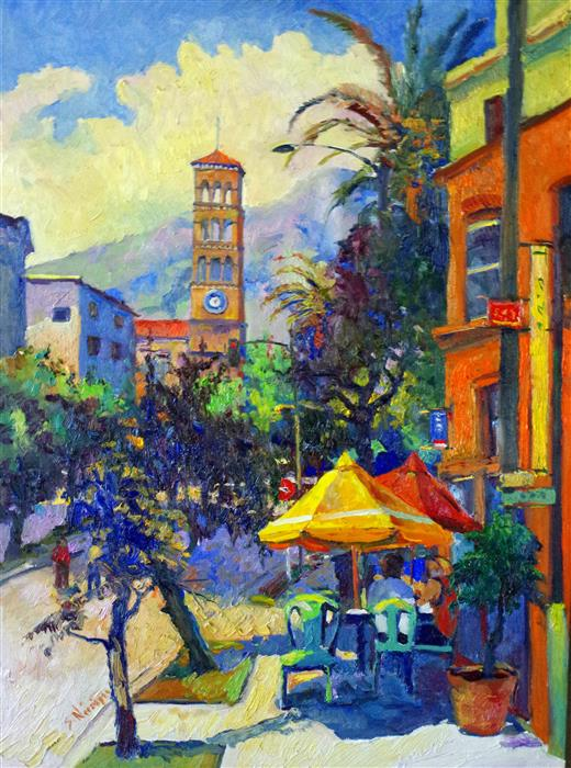 Original art for sale at UGallery.com | Street in Pasadena (Early Evening) by Suren Nersisyan | $2,200 | oil painting | 32' h x 24' w | ..\art\oil-painting-Street-in-Pasadena-Early-Evening