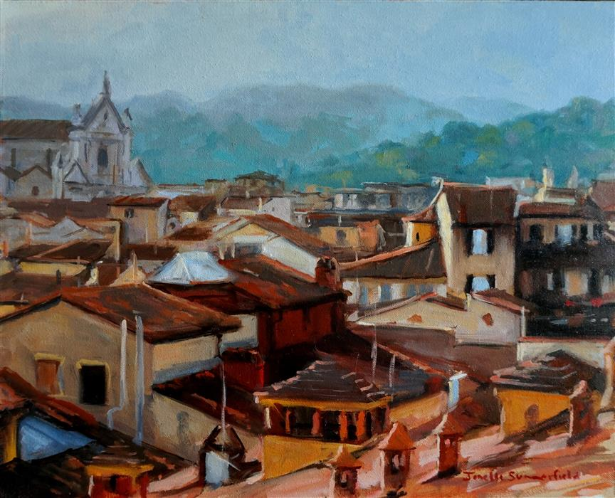 Original art for sale at UGallery.com | View of Florentine Rooftops by JONELLE SUMMERFIELD | $775 | Oil painting | 16' h x 20' w | ..\art\oil-painting-View-of-Florentine-Rooftops
