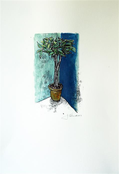 Original art for sale at UGallery.com | A Plant in the Corner by JAMES REES | $300 |  | 15' h x 11.25' w | ..\art\printmaking-A-Plant-in-the-Corner