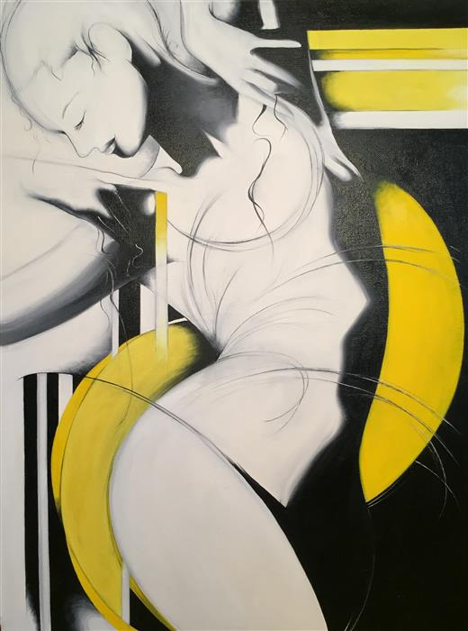 Original art for sale at UGallery.com | Dancer in Yellow by SUMNER CRENSHAW | $525 |  | 24' h x 18' w | ..\art\oil-painting-Dancer-in-Yellow