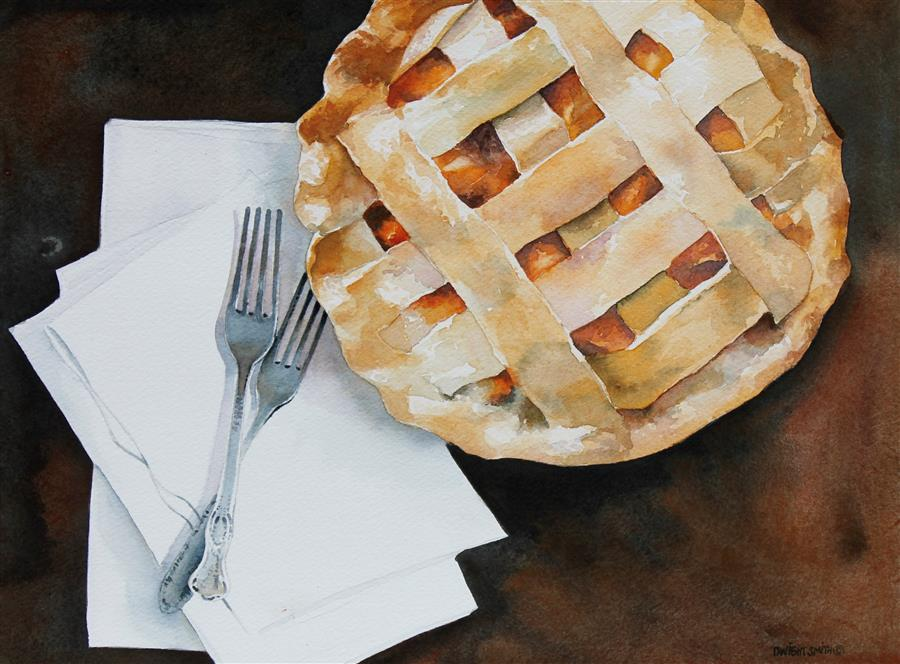 Original art for sale at UGallery.com | Peach Pie for Two by DWIGHT SMITH | $350 |  | 9' h x 12' w | ..\art\watercolor-painting-Peach-Pie-for-Two