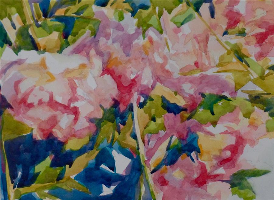 Original art for sale at UGallery.com | Parade of Blooms by JO MACKENZIE | $450 |  | 9' h x 12' w | ..\art\watercolor-painting-Parade-of-Blooms