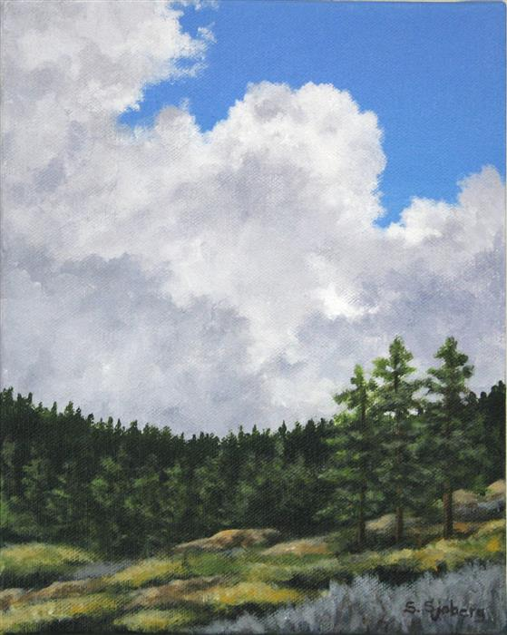 Original art for sale at UGallery.com | Summer Clouds by SUSAN SJOBERG | $375 |  | 10' h x 8' w | ..\art\acrylic-painting-Summer-Clouds-53319