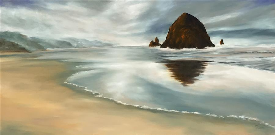 Original art for sale at UGallery.com | Sublime Coast VIII by MANDY MAIN | $1,525 |  | 24' h x 48' w | ..\art\oil-painting-Sublime-Coast-VIII