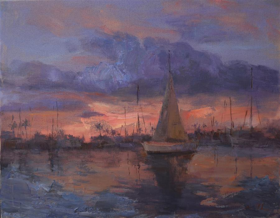 Original art for sale at UGallery.com | Sunset in the Harbor by OKSANA JOHNSON | $1,575 |  | 22' h x 28' w | ..\art\oil-painting-Sunset-in-the-Harbor