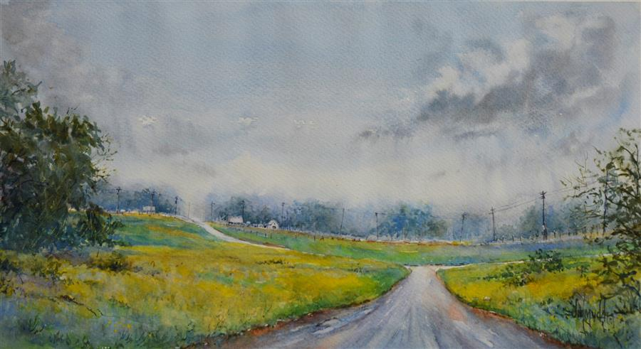 Original art for sale at UGallery.com | Storm's Coming 3 by JUDY MUDD | $825 | Watercolor painting | 11.5' h x 21.5' w | ..\art\watercolor-painting-Storm-s-Coming-3
