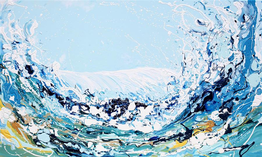 Original art for sale at UGallery.com | Happy Wave by PIERO MANRIQUE | $5,550 |  | 36' h x 60' w | ..\art\acrylic-painting-Happy-Wave