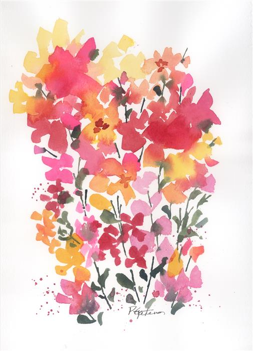 Original art for sale at UGallery.com | Field Flowers 2 by PAMELA GATENS | $325 | Watercolor painting | 15' h x 11' w | ..\art\watercolor-painting-Field-Flowers-2
