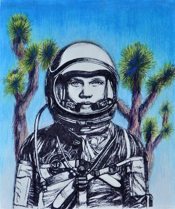 Original art for sale at UGallery.com | Astronaut by AMBER FLORA DIXON | $225 |  | 10' h x 8' w | ..\art\mixed-media-artwork-Astronaut